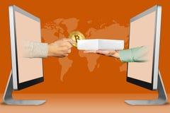 Sieci pojęcie, dwa ręki od monitorów ręka z bitcoin i ręka z białym pastylka komputerem boksujemy ilustracja 3 d royalty ilustracja