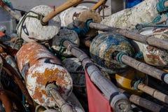 Sieci rybackie w porcie Akcesoria dla łowić w centrali Eur zdjęcie royalty free