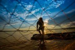 sieci rybackiej miotanie Fotografia Stock
