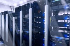 Sieci sieć, interneta serweru telekomunikacyjny pokój Zdjęcia Stock