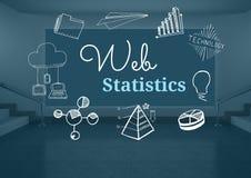 Sieci statystyk tekst z rysunek grafika Obraz Stock