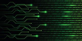 Sieci technologii cyfrowej zieleni binarnego kodu komunikacja ilustracji
