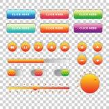 Sieci UI UX elementów Muzyczny projekt ustawiający: Guziki, Switchers, suwak, ładowacz Fotografia Royalty Free