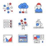 Sieci usługa linii ikony ustawiać Zdjęcie Royalty Free