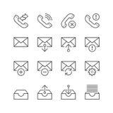 Sieci & wiszącej ozdoby Podłączeniowe ikony - Wektorowa ilustracja, Kreskowe ikony ustawiać Obrazy Royalty Free