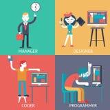 Sieci zespół ds. rozwoju programowania biznesmena managerprogrammer kodera projektant planuje Ñ  oncept ikony ustawia płaskiego  Zdjęcia Royalty Free
