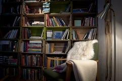 Sieda e legga un libro dalla biblioteca Fotografia Stock