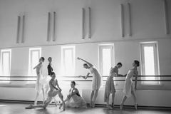 Siedem balerin przy baleta barem Obraz Stock