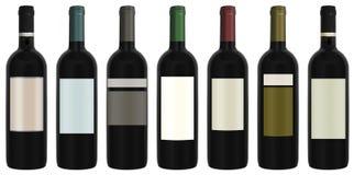 Siedem butelek wino Zdjęcie Stock