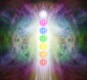 Siedem Chakra Vortexes w Pranic energii polu ilustracji