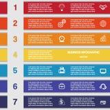 Siedem colour pasków, szablon dla infographics Obrazy Stock