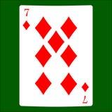 siedem diamenty Karciana kostium ikona, karta do gry symbole Obraz Stock