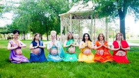 Siedem kobieta w ciąży Obraz Royalty Free