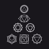 Siedem ludzkich chakras, ilustracja, czarny i biały kolor Obrazy Stock