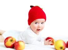 Siedem miesięcy stary dziecko z jabłkami Obraz Stock