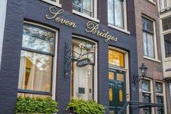 Siedem mostów Hotelowych w Amsterdam Fotografia Royalty Free