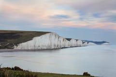 Siedem siostr, gigantyczne denne falezy w Wschodnim Sussex Fotografia Stock