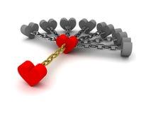 Siedem szarych serc trzyma jeden czerwonego serce. Zależność na złych powiązaniach. ilustracji