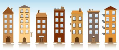 Siedem wektorowych budynków Fotografia Stock