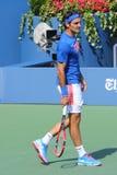 Siedemnaście czasów wielkiego szlema mistrz Roger Federer ćwiczy dla us open 2014 Zdjęcie Royalty Free