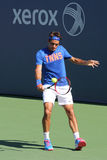 Siedemnaście czasów wielkiego szlema mistrz Roger Federer ćwiczy dla us open 2014 Obraz Stock
