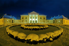 Siedlce的Oginski宫殿在冬天晚上 免版税库存照片