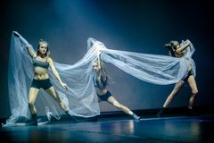 Dancers of Luz Dance Theatre perform on stage royalty free stock images