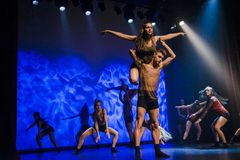 Dancers of Luz Dance Theatre perform on stage Stock Image