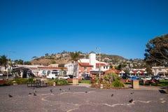Siedlungsbau auf der Seite eines Berges, der einen kleinen Park übersieht stockfotografie