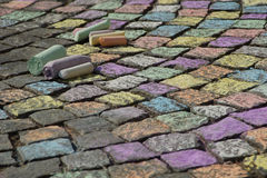 Sidewalk chalk Stock Photo