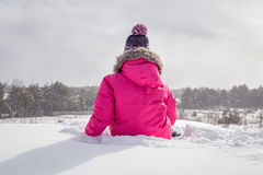 siedząc śnieg Fotografia Stock