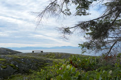 Siedząca ławka przy punktem widzenia na Bowen wyspie Fotografia Stock