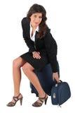 siedząca bagaż kobieta Fotografia Stock
