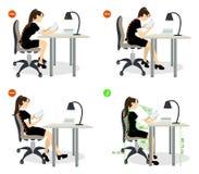 Siedzącej postury set ilustracji