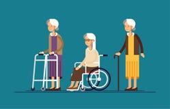 Siedzący babcie w wózku inwalidzkim z piechurem i chodzącego kija i paddle royalty ilustracja