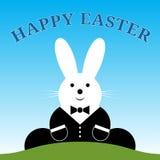 Siedzący uśmiechnięty Wielkanocny królik z kostiumem i tekstem Obrazy Royalty Free