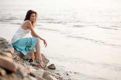 siedząca kamienna kobieta Zdjęcie Royalty Free