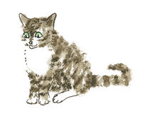 Siedzący ciekawy kot Ilustracja Wektor