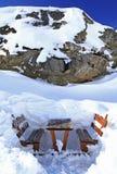 Siedzenia zbliżają Skalnata chatę Fotografia Royalty Free