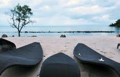 Siedzi na plaży Fotografia Stock