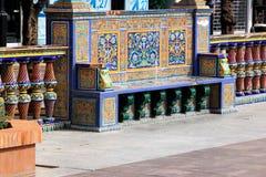 Siedzi z Hiszpańskimi azulejos w Algeciras, Hiszpania obraz stock