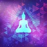 Siedzieć Buddha nad świętym geometrii tłem Wektorowy illustrat ilustracji