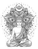 Siedzieć Buddha nad ozdobnym róża kwiatem Ezoteryczny rocznika wektor Zdjęcia Stock