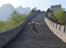 Sieg auf Chinesischer Mauer Stockbild