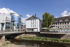 Sieg rzeka w mieście Siegen, Niemcy Zdjęcie Stock