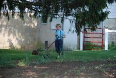 Siega adolescente joven del muchacho de Amish Imágenes de archivo libres de regalías