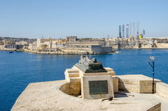 Siege Bell War Memorial in Valletta, Malta. View of the War sculpture by Michael Sandle from the Siege Bell War Memorial or Malta Siege Memorial at the entrance Stock Photography