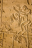 Siege fighting, Kadesh.  Ramesseum. Soldiers fighting a siege at the Battle of Kadesh.  Ancient Egyptian army in conflict with the Hittites.  Frieze at the Royalty Free Stock Photo