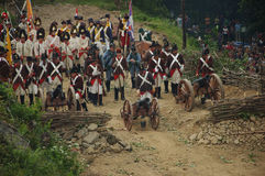 Siege of fortress. SREBRNA GORA, POLAND - JUNE 11: 1807 Napoleon's forces battle reconstruction, siege of the Srebrna Gora fortress. French army behind barricade Stock Photos