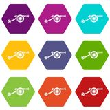 Siege gun icons set 9 vector. Siege gun icons 9 set coloful isolated on white for web Royalty Free Stock Photo